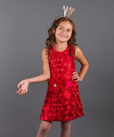 Look what I found on #zulily! Red Circle Holiday Shift Dress - Toddler & Girls by Mia Belle Baby #zulilyfinds