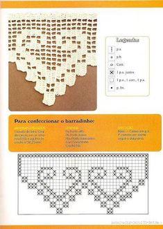 Filet crochet heart edging possibly for tablecloth - Salvabrani Crochet Curtain Pattern, Crochet Edging Patterns, Filet Crochet Charts, Crochet Lace Edging, Crochet Curtains, Crochet Borders, Crochet Diagram, Thread Crochet, Crochet Doilies
