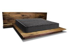 Solid Walnut Modern Bed Frame and Headboard set. Mid-Century Modern Platform Bed Frame and Headboard.