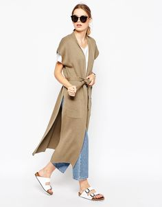 Image 4 of ASOS Sleeveless Longline Cardigan With Belt Love Fashion, Fashion Looks, Womens Fashion, Fashion Trends, Street Chic, Street Style, Longline Cardigan, Evening Outfits, Blazers