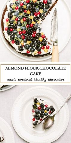 This almond flour chocolate cake is sweetened with maple syrup and topped off with maple whipped cream and fresh berries.Made with wholesome ingredients it is a healthier alternative to satisfy all your chocolate-y cravings. Healthy Homemade Snacks, Homemade Cake Recipes, Tart Recipes, Best Dessert Recipes, Healthy Baking, Fun Desserts, Cookie Recipes, Healthy Treats, Healthy Food