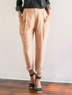 Gathered Trouser – Beige
