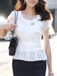 Shop Solid Color Chiffon Pleated Women's Blouse on sale at Tidestore with trendy design and good price. Come and find more fashion Blouses here. Chiffon Ruffle, Chiffon Tops, Ruffle Trim, Ruffles, Petal Sleeve, Blouse And Skirt, Blouse Online, Blouse Styles, Timeless Fashion