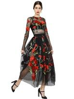 Dolce & Gabbana Floral Embroidered Swiss Dot Tulle Dress