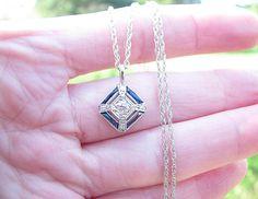 Art Deco 1920s Diamond Sapphire Pendant Necklace, Fiery Old European Cut Diamond, French Cut Sapphires, Striking Design in 14K White Gold