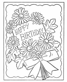 Birthday Coloring pages   Birthday card Flowers
