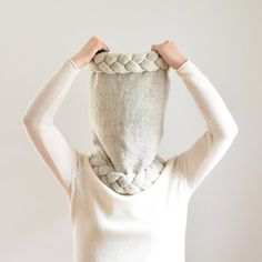 Chunky Cowl Hood Knit Scarf Hooded Scarf Oatmeal от IRISMINT