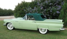 Seafoam green 1957 FORD Thunderbird w/ aftermarket color top - i like it