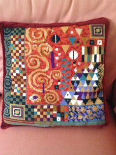 Klimt cushion on needlepoint