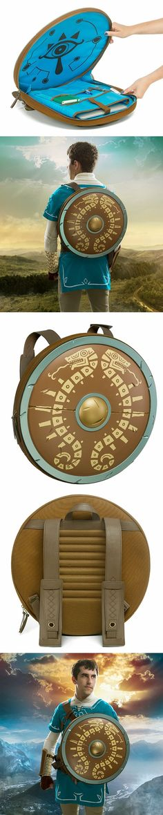 New awesome Zelda Breath of the Wild Shield Backpack! #BreathOfTheWild @thinkgeek