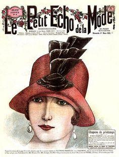 Spring Straw hat with ribbonwork trim, Le Petit Echo de La Mode, March 1925
