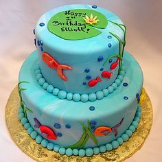 fish birthday cake 2 tier Fish Birthday Cake Ideas