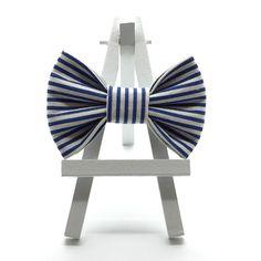 Classic Blue Stripe Hair Bow