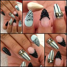 Black Gold and White Bow Stiletto Almond Nails @nailsyulieg