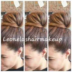 High bun with balayage highlights