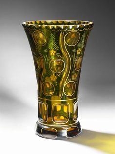 A Green and Amber Val St Lambert Vase