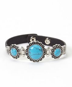 This Turquoise & Black Leather Expandable Bracelet is perfect! #zulilyfinds