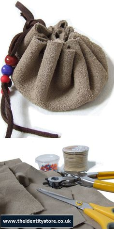 Make a little drawstring pouch - use our suede leather pieces, suede lace, draw round a saucer (around 15cm) and use the rotary punch to make holes for the lacing - a great kids craft activity