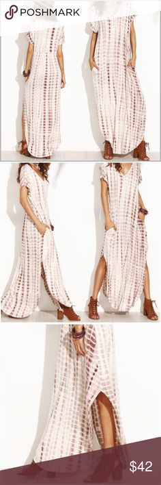 "Mocha Tie Dye Pocket Maxi Mocha, tie dyed, curved hem maxi dress.   •Slight oversized fit •Side pockets •Mocha (brown) and cream tie dyed fabric.  •96% Rayon 4% Spandex  Measurements: Medium- Bust: 38"" Length: 56""* Large-     Bust: 42"" Length: 56""* *Length measurement is from shoulder seam to longest point in front.   ❗️Price is firm unless bundled❗️  #HK3341435 ✔️ Dresses Maxi"