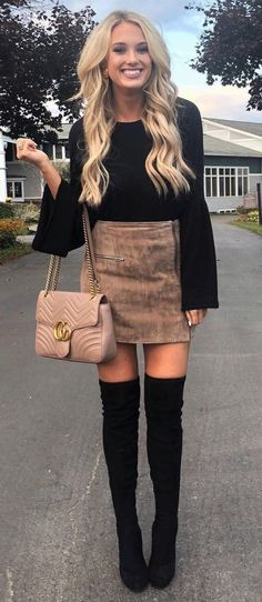 #winter #outfits black long sleeve top and brown suede mini skirt with black OTK boots