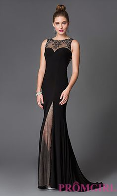 Floor Length Illusion Slit Prom Dress by Xcite at PromGirl.com