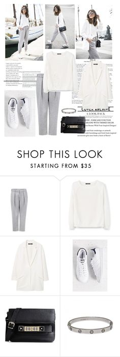 """""""Cropped pleated Pants Cropped pleated Pants and sweater, blazer from MANGO"""" by lin-k-polyvore ❤ liked on Polyvore featuring Atea Oceanie, MANGO, adidas, Proenza Schouler and Cartier"""