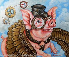 Olie Griffard When Pigs Fly Original Painting Steampunk Cogs Gears ...