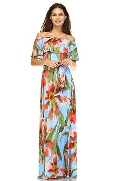 Zoozie LA Women's Off The ShoulderWrap Maxi Dress Floral Flower Blue Medium. 100% Brand New with Tags! Proudly Made in USA!. This beautiful off the shoulder dress is made of Polyester and Spandex; with special breathable and durable Venechia fabric. This maxi dress features an elastic band at top opening for various styles of wear; off shoulder, on shoulder, 1 shoulder on/1 shoulder off. This party cocktail casual dress has a tie belt strap waistband with belt loop to adjust waist size…
