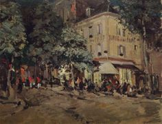 Hand painted oil painting reproduction on canvas of A street in vichy 1911 by artist Konstantin Korovin as gift or decoration by customer order. Mary Cassatt, Pierre Bonnard, Henri Matisse, Nocturne, Claude Monet, Vincent Van Gogh, Famous Impressionists, Art Nouveau, Icelandic Artists