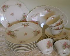 french antique dinnerware sets | Antique French Limoges China Set Luncheon Dinner Plates, Coffee Cups ...