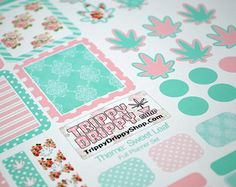 Floral - Marijuana Leaf Planner Craft Stickers - Shabby Chic - Cannabis Leaf - Weed Stickers Gifts Craft Scrapbooking