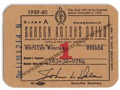 From the Personal Files of Marilyn Monroe:  A Screen Actors Guild membership card for 1959-60, with Marilyn's SAG membership number and social security number annotated.