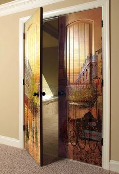 Custom design printed on double doors with the use of a UV LED printer.