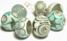 Items similar to Handmade Lampwork Glass Beads Flameworked Ivory Copper Green Fine Italian Silver on Etsy
