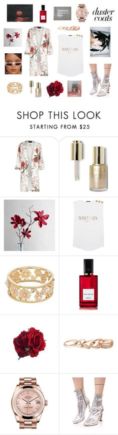 """blem."" by hawarauf ❤ liked on Polyvore featuring River Island, Stila, Pier 1 Imports, Balmain, Diana Vreeland, GUESS, Rolex and Cape Robbin"
