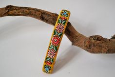 Wooden Hair Barrette  Hand painted  Russian folk style Gorodets painting. Made to order.