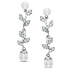 5.0 - 6.5mm Cultured Freshwater Pearl and Lab-Created White Sapphire Floral Drop Earrings in Sterling Silver
