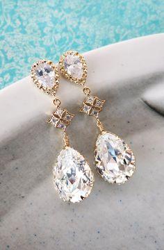 Champagne Gold Earrings with Swarovski Crystal Earrings, Champagne Gold Bridesmaid Bridal Wedding Jewelry Earrings, Vintage style, by GlitzAndLove, www.glitzandlove.com