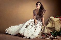 Kareena Kapoor for the Vogue India Magazine Dec 2015 Issue. She is wearing - Embellished blouse, matching lehenga; both Manish Malhotra. 'Sunburst Radiant' ring, Nirav Modi