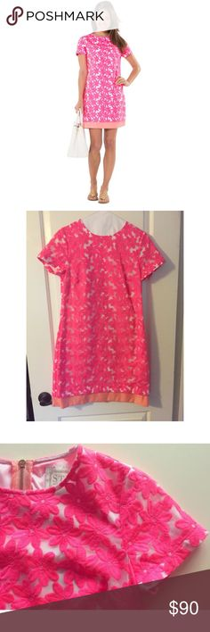 Sail to Sable Cotton Candy Shift sz 4 🌷🌸 Worn once! In perfect condition adorable hot pink Shift dress with a coral banding at the hem. Size 4. Retailed at $195. Approximately 34in from shoulder to hem Design details: embroidered organza design, contrast hem Center back zipper Shell: 65% polyester, 35% nylon Contrast: 100% polyester Sail to Sable Dresses
