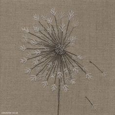 Dandelion on Linen  - Jo Butcher - Neutral Colors:  Tan/ Taupe, White, Grey Green