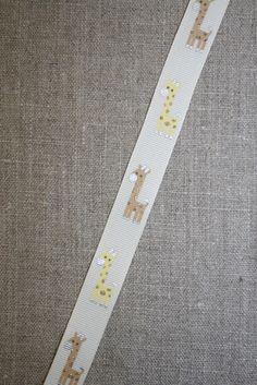 Bånd m/giraffer, off-white