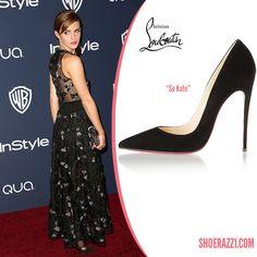 chris louis vuitton shoes - Emma Watson in Christian Louboutin Black Suede So Kate Pumps ...