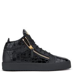 Giuseppe Zanotti Kriss high-top sneakers in black crocodile embossed leather 595 EUR.