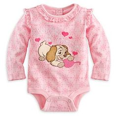 Lady Disney Cuddly Bodysuit for Baby | Disney StoreLady Disney Cuddly Bodysuit for Baby - When the baby moves in, the dog moves out - and onto our delightful Disney Cuddly Bodysuit with embroidered Lady appliqu� old fashioned floral filigree, and ruffled trims.