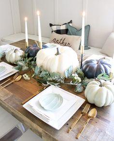 Blue + Green Pumpkin Tablescape – Pamela's World Blue Fall Decor, Fall Home Decor, Autumn Home, Thanksgiving Decorations, Seasonal Decor, Holiday Decor, Thanksgiving Table, Autumn Decorations, Christmas Tables