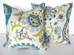 GET A WHOLE NEW LOOK JUST BY USING PILLOW COVERS! THE PILLOW COVERS CAN GO OVER A PILLOW INSERT OR YOUR EXISTING PILLOWS! Add a FRESH NEW DESIGNER LOOK to any room with this pillow cover made for a 16x16 inch pillow. It features a gorgeous New Organic Floral pattern in Teal, Lime
