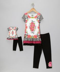 Take a look at this Black & Fuchsia Rose Dress Set & Doll Outfit - Girls by Dollie & Me on #zulily today!