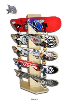 Shark Racks - 5 Board- Skateboard Display Rack - Natural