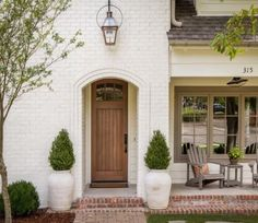 Exterior Paint Colors - You want a fresh new look for exterior of your home? Get inspired for your next exterior painting project with our color gallery. WE Oyster White White Exterior Paint, House Paint Exterior, Exterior Paint Colors, Exterior House Colors, Exterior Design, White Washed Brick Exterior, White Brick Houses, Painted White Brick House, White Wood
